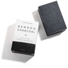 Herbivore Botanicals Bamboo Charcoal Bar Soap Black By ($12) ❤ liked on Polyvore featuring beauty products, bath & body products, body cleansers, cosmetics and herbivore