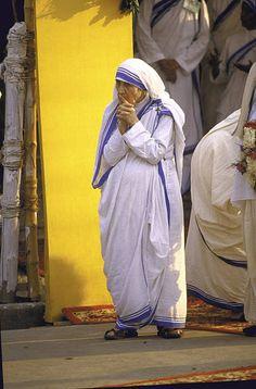 Catholic Nun Mother Teresa during visit of Pope John Paul II.