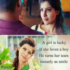 I'm very lucky bby😢😢😢.u gv ma lyf again.u made me perfect. Crazy Quotes, Pretty Quotes, Real Life Quotes, Cute Love Quotes, Girl Quotes, Movie Love Quotes, Favorite Movie Quotes, Tamil Love Poems, Love Dialogues