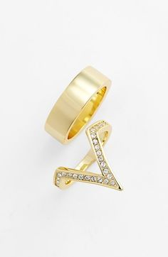 Free shipping and returns on Ariella Collection Pavé V Ring & Band Ring (Set of 2) at Nordstrom.com. A sparkling V-shaped ring pairs with a wide band to create a cool mix-and-match look.