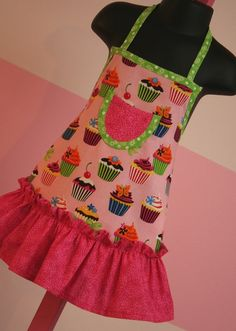 Cupcake Toddler Ruffle Apron  Pink Cupcake Kids by KitchenGlam, $18.00. Love for my oldest daughter.