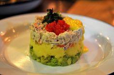 Causa de Cangrejo: Aji amarillo mashed potatoes, fresh crab, avocado