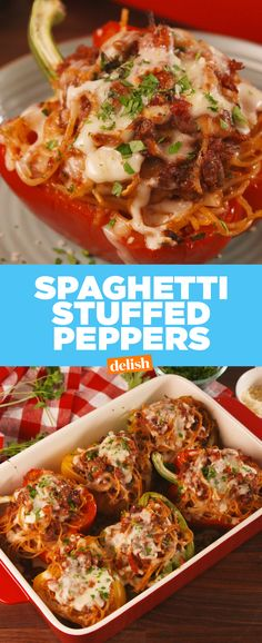 Spaghetti Stuffed Peppers will feed your entire family. Thinking it would be even better with zucchini noodles and an alternative to beef because I'm not a huge fan of meats Pasta Recipes, Beef Recipes, Dinner Recipes, Cooking Recipes, Healthy Recipes, Dinner Ideas, Pepper Recipes, Dinner Entrees, Noodle Recipes