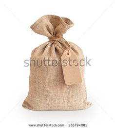 Canvas sack with blank label - stock photo