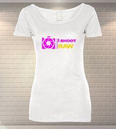 Tricou Personalizat I Shoot RAW   Tricouri Dama   MeraPrint.ro   Va punem la dispozitie o gama variata de produse personalizate la preturi foarte mici! I Shoot Raw, T Shirts For Women, Tops, Fashion, Moda, Fashion Styles, Fasion