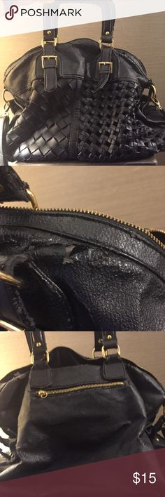 Large black bag. Handles and shoulder straps. Large black bag. Handles and shoulder straps. Priced low due to condition. See photos. Bags Satchels