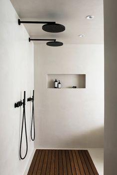Wooden Bathroom, Small Bathroom, Bathroom Ideas, Bathroom Organization, Basement Bathroom, Shower Ideas, Bathroom Black, Bathroom Storage, Restroom Ideas