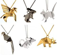 origami necklaces! Love it! I want a crane one or a snake one so bad!!!