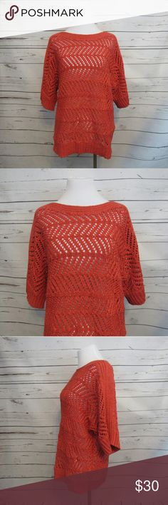 """Chico's Orange Loose Knit Short Sleeve Sweater 2 L Brand: Chico's Size: 2 Material: 57% Cotton 43% Polyester Care Instructions: Machine Wash  Bust: 42"""" Shoulders: 16"""" Sleeves: 9"""" Length: 25""""  All clothes are in excellent used condition. No tears, stains or holes unless otherwise I noted.   P? Chico's Sweaters"""