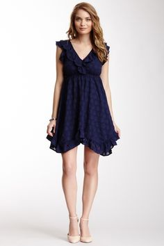 Ruffle V-Neck Dress from HauteLook on shop.CatalogSpree.com, your personal digital mall.