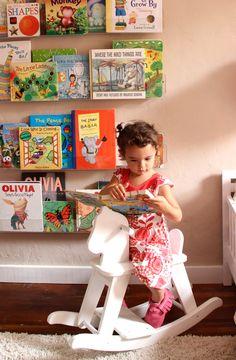 Girls' Room: Acrylic Bookshelves & a Library Wall - Pepper Design Blog