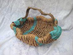 shabby aqua baskaet driftwood basket rustic by MyShabbyChicShop, $29.00
