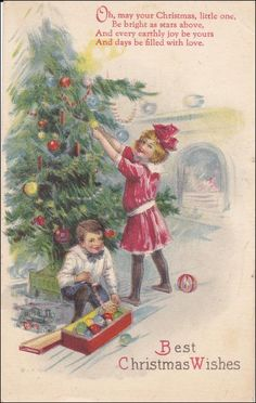 Children decorating tree, Best Christmas Wishes, 00-10s Item# SCVIEW437281 (265710031)