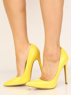 new concept fe894 22a9b Reptile Yellow Pointy Toe Single Sole High Heels