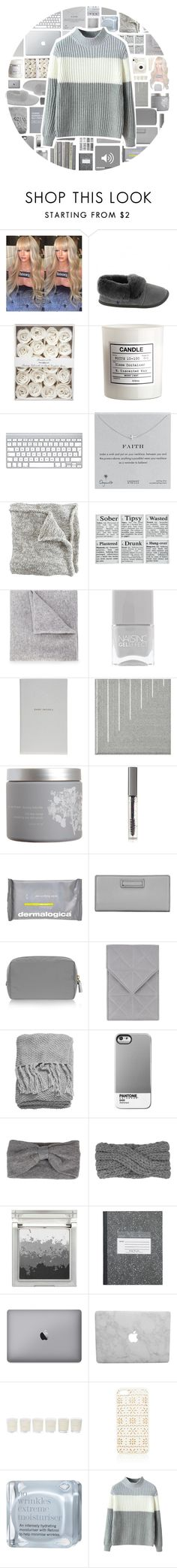 """""""Sweater weather"""" by stelbell ❤ liked on Polyvore featuring Lazybones, Fuji, H&M, Dogeared, Lucien Pellat-Finet, Nails Inc., Smythson, NARS Cosmetics, red flower and BBrowBar"""