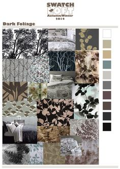 A/W 2014 Trend | Dark Foliage. This is a story that is coming in for Winter 14 that focuses on moody shadowed leaves creating a sophisticated and high end feel.  It explores areas of overlap and shadow techniques that give the theme its contemporary look pointing towards a new way of interpreting shadow leaf prints.