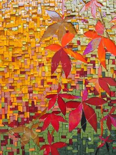AUTUMN SPLENDOUR Italian smalti in reds, golds, ochres, yellows and green tones, Italian millefiore, Stained glass 70x80cm by Melanie Watts