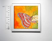 Oil Painting butterfly miniature 4x4i ,spring, orange red white black  ,With Wooden Easel,free shipping,gift for all,butterfly  lover