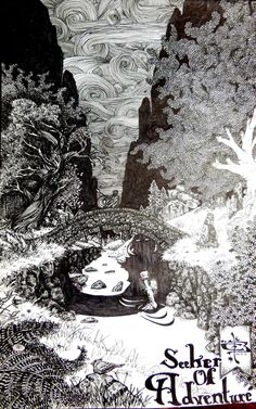"Seeker of Adventure; 8""x6"" pen and ink signed illustration PRINT, person crossing bridge with troll under it. Cloudy windy night, fireflies by WyldTrees on Etsy"