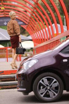 #seat #mii #cosmopolitan #purple #dress #bomber #jacket #highheels #car #city #outfit #blackbag