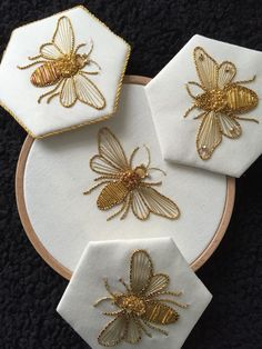 Would be so cool on a white or gray sheet set, esp with a honeycomb border across the pillow case Introduction to Goldwork: Bumblebee Introduction to Gold Work Kit - Purl & Check Bumble Bee - Kathleen Laurel Sage Einführung in Goldwork: Hummel Stickerei Japanese Embroidery, Hand Embroidery Stitches, Embroidery Art, Cross Stitch Embroidery, Tambour Embroidery, Beginner Embroidery, Geometric Embroidery, Simple Embroidery, Embroidery Supplies