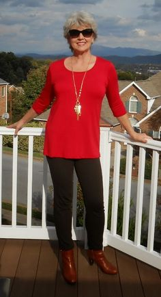 Fifty, not Frumpy-love the boots-love the pop of red