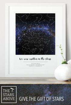 Unique beautiful custom star map, great gift for any occasion, Capture the night sky above that special moment Unique Housewarming Gifts, Personalised Gifts Unique, Personalized Anniversary Gifts, Unique Birthday Gifts, Sentimental Gifts, Diy Birthday, Customized Gifts, Custom Gifts, Thoughtful Engagement Gifts