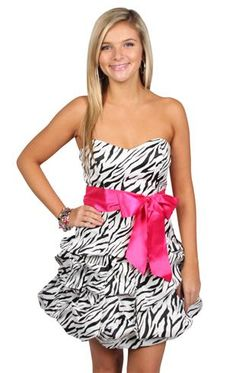 zebra print satin pickup party dress