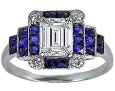 Emerald Cut Diamond Art Deco Step Up Engagement Ring - ES1121EC