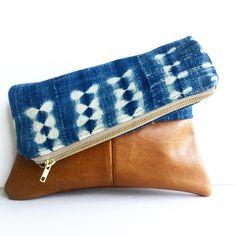 Indigo mudcloth and leather fold over clutch Houseofpillows.etsy.com