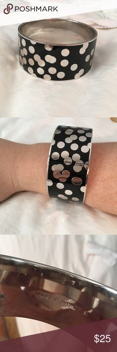 """Kate Spade confetti bangle Silver and black wide bangle with confetti design. Authentic Kate Spade. Says """"make a day of it"""" inside. kate spade Jewelry Bracelets"""