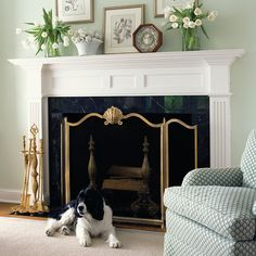 Decorating a fireplace mantel. Tips on fireplace decorating and refreshing traditional room that has a fireplace mantel. Fireplace and interior design White Fireplace Mantels, Home Fireplace, Fireplace Design, Fireplaces, White Mantle, Fireplace Ideas, Fireplace Tools, Fireplace Grate, Classic Fireplace