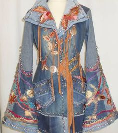 WHOA!!!!  This is a way 2 coool denim redo!!!!  I need to make me a cool redone jacket {big bell bottoms, can become big bell sleves}!!!  WOW, I can dig it, can U???  Galleri Åsa Örterström