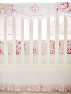 Pink Floral Scalloped Crib Rail Cover for Girls by NewArrivalsInc
