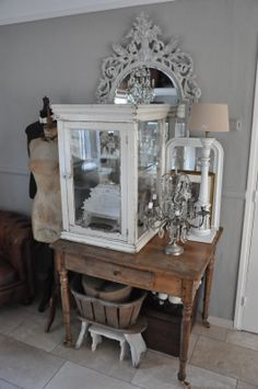 love the vintage window/ glass display - maybe a smaller version or on feet...or a stand