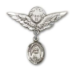 ReligiousObsession's Sterling Silver Baby Badge with St. Anastasia Charm and Angel with Wings Badge Pin >>> Click image for more details. (This is an Amazon Affiliate link and I receive a commission for the sales)