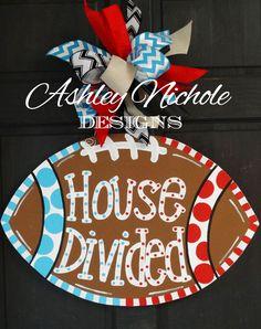 House Divided Football Door Hanger Door by DesignsAshleyNichole Football Door Hangers, Fall Door Hangers, Burlap Door Hangers, Metal Hangers, Burlap Crafts, Wooden Crafts, Burlap Wreath, Painted Doors, Wooden Doors