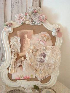 Excellent picture frame with shabby chic items for deco. Be nice for bedroom after the wedding wedding