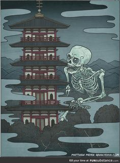In Japanese Folklore, Gashadokuro is a giant skeleton made up of the bones of people who have died from starvation. If Gashadokuro sees you, it will bite your head off and drink the blood that drains out of your decapitated body Mythological Creatures, Fantasy Creatures, Mythical Creatures, Folklore Japonais, Art Japonais, Japan Illustration, Fantasy Kunst, Fantasy Art, Era Edo