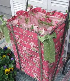 I think Mama still has Grammie's cart.this would hold fabric in the craft room! Fabric Crafts, Sewing Crafts, Sewing Projects, Diy Projects, Diy Crafts, Sewing Hacks, Sewing Tutorials, What A Nice Day, Basket Liners
