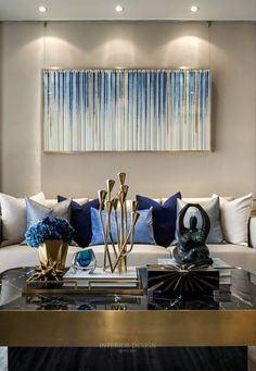 Mixed color of BLUES dining room or any room