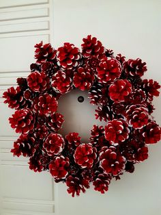 Best 11 Red and white pinecone wreath. Pine Cone Christmas Decorations, Christmas Wreaths For Windows, Easy Christmas Crafts, Christmas Ornaments, Fall Wreaths, Christmas Nails, Fall Crafts, Christmas Christmas, Christmas Recipes