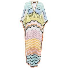 Missoni Mare Striped Kaftan (£860) ❤ liked on Polyvore featuring tops, tunics, multicoloured, striped top, pink tunic, stripe tunic, caftan tops and kaftan tunic