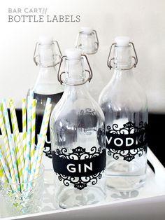 DIY Bar Bottle Labels | Sarah Hearts
