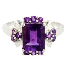 Amethyst 3.10 Carat Gemstone Ring in 925 Sterling Silver Jewelry