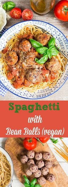 Grow Organic Tomatoes These vegan spaghetti with bean balls are perfect for quick weeknight dinners. They're super delicious and easy to make! Veggie Recipes, Pasta Recipes, Whole Food Recipes, Cooking Recipes, Healthy Recipes, Quick Vegetarian Recipes, Vegan Bean Recipes, Vegan Dinner Recipes, Spaghetti Recipes