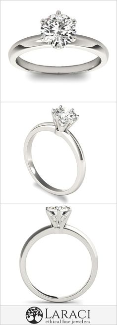 14K White Gold 6 Prong Solitaire Engagement Ring set with a 1ct 6.5mm Round Forever Brilliant Moissanite . 100% Conflict Free Ethical Engagement Rings.