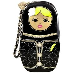 Betsey Johnson Kitsch Russian Doll Wristlet ($58) ❤ liked on Polyvore featuring bags, handbags, clutches, black, chain purse, zipper purse, zip wristlet, betsey johnson and zipper handbag
