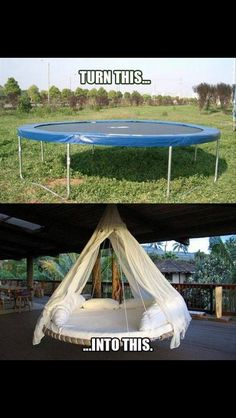 Turn a trampoline into a hanging outdoor bed as a new take on the hammock idea for relaxing. Turn a trampoline into a hanging outdoor bed as a new take…