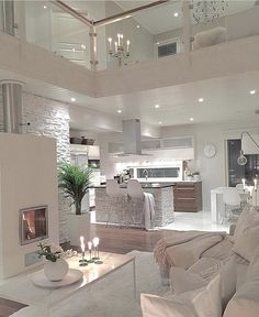 Try To Decorating With Luxury White Living Room Design 01 - Home Decor Design Dream Home Design, Modern House Design, Small House Design, Interior Design Living Room, Living Room Designs, Modern Interior, Modern Luxury, Kitchen Interior, Kitchen Decor
